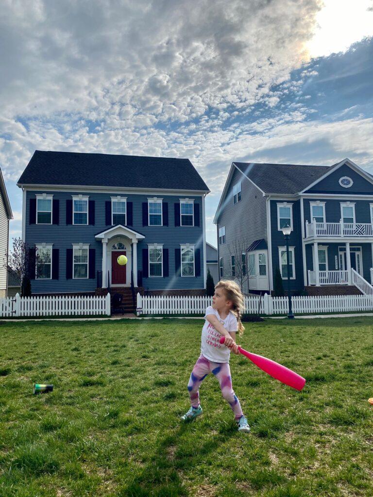 Erin's daughter playing baseball